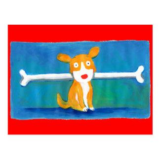 very happy dog postcard
