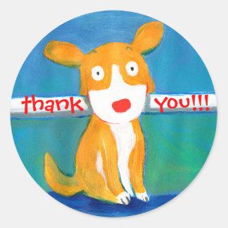 very happy dog round sticker