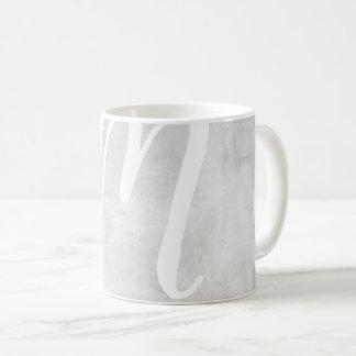 Very large Monogram grey Stucco texture image Mug