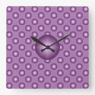 Very Lavender Polka Dot Square Wall Clock