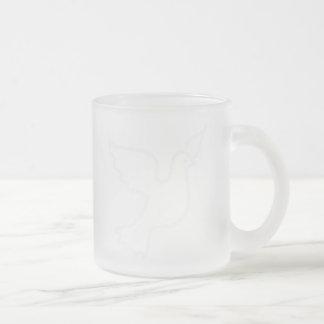 Very Light Blue Peace Dove 10 Oz Frosted Glass Coffee Mug