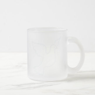 Very Light Blue Peace Dove Frosted Glass Mug