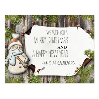 Very Merry Christmas and Happy New Year Postcard