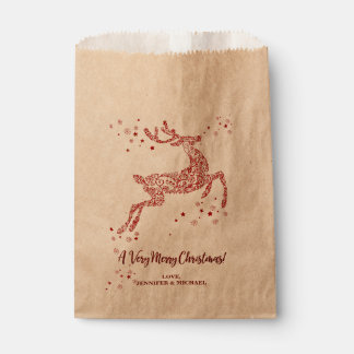 Very Merry Christmas Gilded Reindeer Personalized Favour Bag