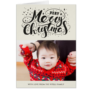 Very Merry Christmas Photo Greeting Card | Beige