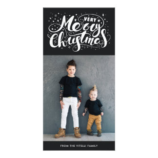Very Merry Christmas Photocard | Muted Black Card