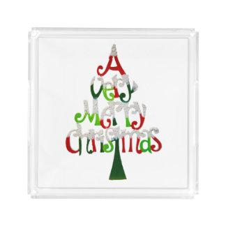 Very Merry Christmas Tree Acrylic Tray