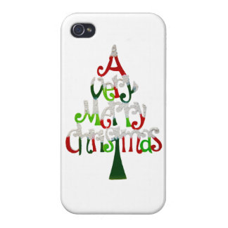 Very Merry Christmas Tree Covers For iPhone 4