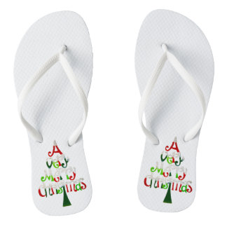 Very Merry Christmas Tree Flip Flops
