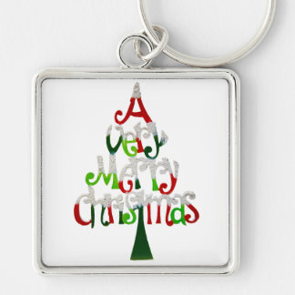 Very Merry Christmas Tree Keychain
