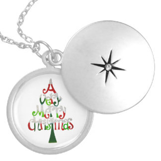 Very Merry Christmas Tree Locket Necklace