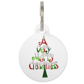 Very Merry Christmas Tree Pet Name Tag