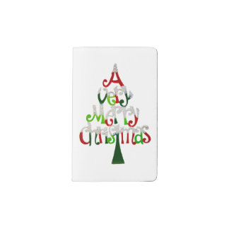 Very Merry Christmas Tree Pocket Moleskine Notebook