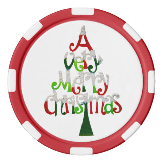 Very Merry Christmas Tree Poker Chip Set