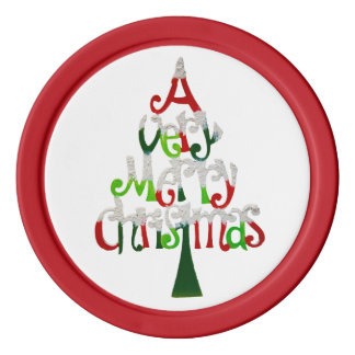 Very Merry Christmas Tree Poker Chips