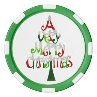 Very Merry Christmas Tree Poker Chips Set
