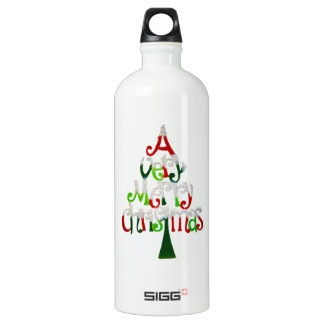 Very Merry Christmas Tree Water Bottle