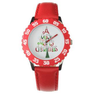 Very Merry Christmas Tree Wrist Watch