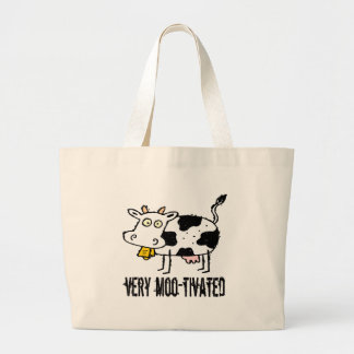 Very Moo-tivated Funny T-shirts Gifts Large Tote Bag