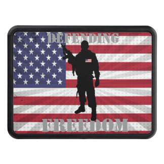 Very Patriotic Defending Freedom American Flag Trailer Hitch Cover