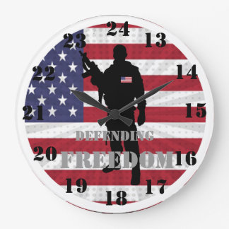 Very Patriotic Defending Freedom Military Time Large Clock