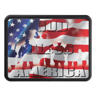 Very Patriotic God Bless America American flag Trailer Hitch Cover