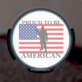 Very Patriotic Proud to be American American Flag LED Auto Decal