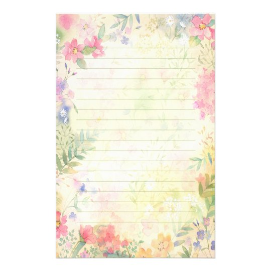 Blue Corporate Stationary Pack By Betty Design: Very Pretty Floral Lined Stationery Paper