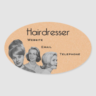 VERY PROFESSIONAL HAIRDRESSER'S OVAL STICKERS! 2 OVAL STICKER