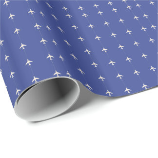 very small airplanes on blue wrapping paper