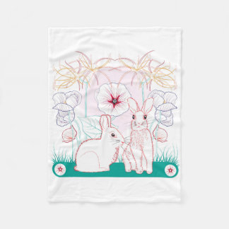 Very soft rabbits on a small cover fleece blanket