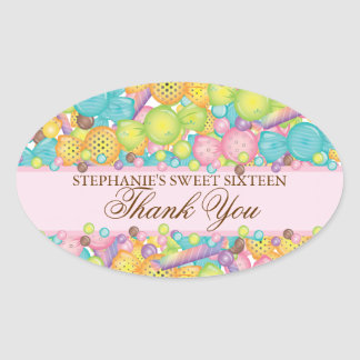 Very Sweet Colorful Candy Sweet 16 Favor Sticker