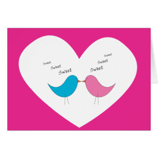 Very sweet pair of birds: pink and blue greeting card