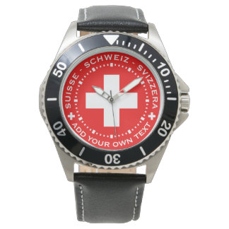 Very Swiss Watch - Swiss Flag, Add Your Own Text