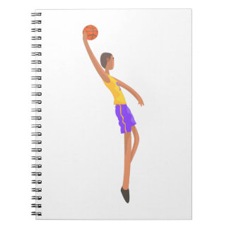 Very Tall Basketball Player Action Sticker Notebook