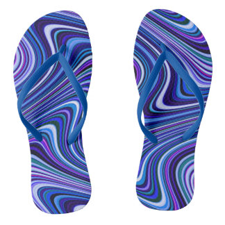 Very Unique Blue Purple Pink Curvy Line Pattern Flip Flops
