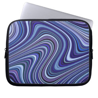 Very Unique Blue Shade Curvy Line Pattern Laptop Sleeve