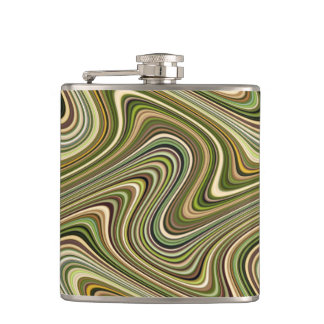 Very Unique Multi-Color Curvy Line Pattern Hip Flask