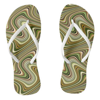 Very Unique Multicolored Curvy Line Pattern Flip Flops