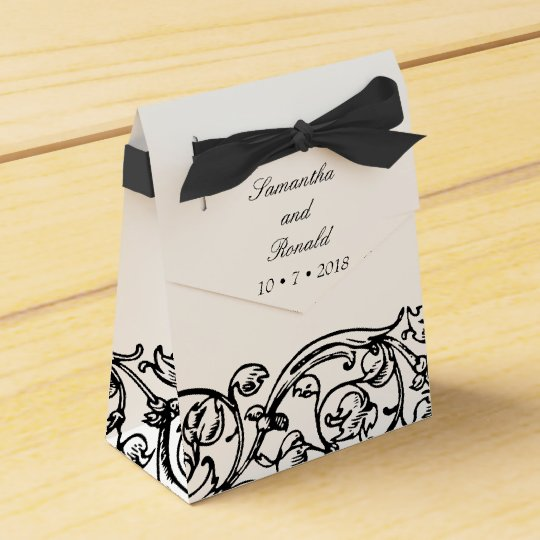 Very Vintage Black and White Party Favor Boxes