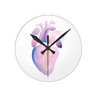 Very Violet Heart Round Clock