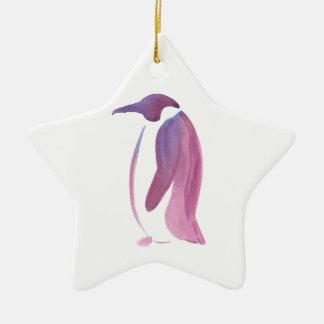 Very Violet Penguin Ceramic Star Ornament