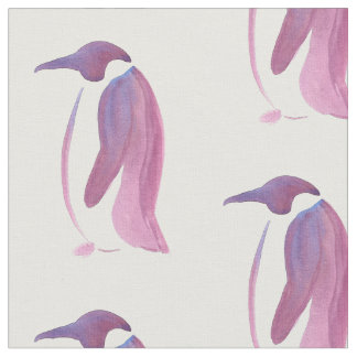 Very Violet Penguins Fabric