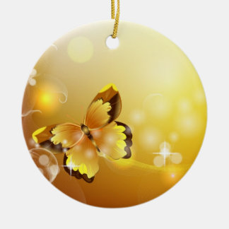 Very Yellow, Butterfly and Bubbles Ceramic Ornament