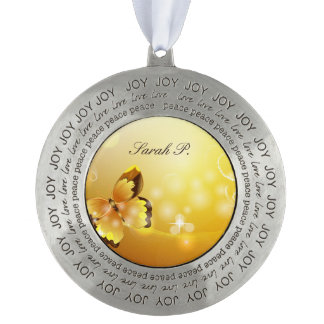 Very Yellow, Butterfly and Bubbles Christmas Pewter Ornament