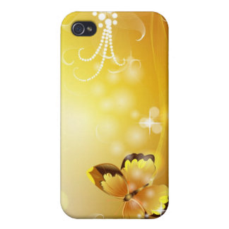 Very Yellow, Butterfly and Bubbles iPhone 4/4S Case