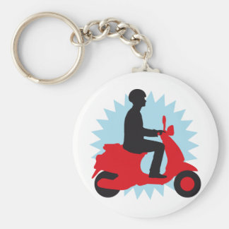 Vespa more scooter basic round button keychain