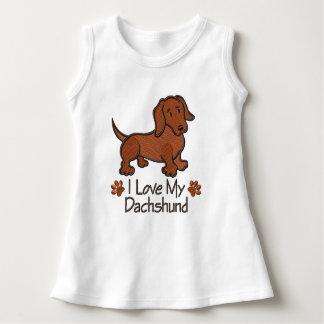 """Vestidinho Baby Sleeveless """"I love my Dachshund """" Dress"""