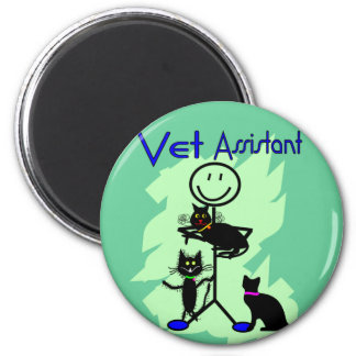 Vet Assistant Stick Person With Black Cats 2 Inch Round Magnet