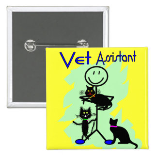 Vet Assistant Stick Person With Black Cats 2 Inch Square Button